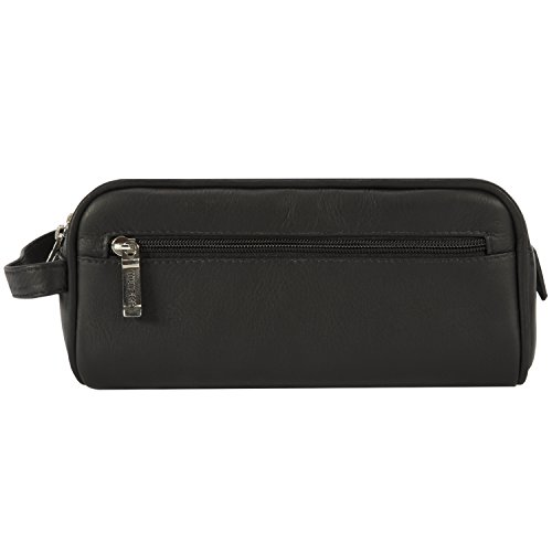 Muiska Leather Tomas Classic Double Zippered Travel Dopp Kit Toiletry Bag, Black by Muiska