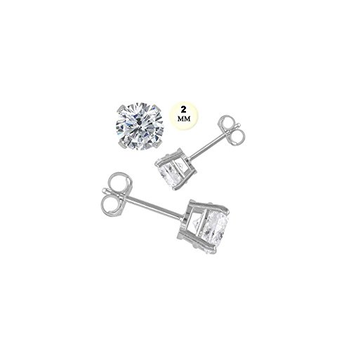 14k White Gold Stud Earring for Kids Aprx .24 Carat Total Weight, 2mm Each Round Simulated Diamond Earring. Set on Prong Setting & Friction Style (0.24 Ct Earring)