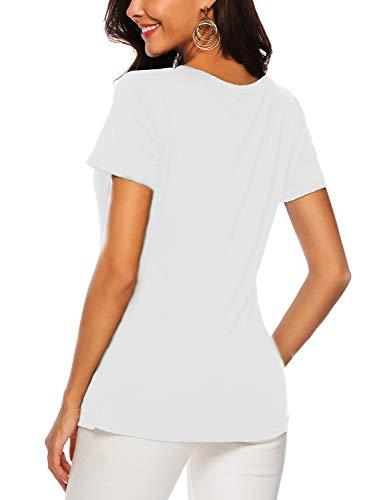 Femme Courtes V Chemisiers shirt À En Col T D'été Top Blanc Manches Et Amoretu Blouses XdZqwR7X