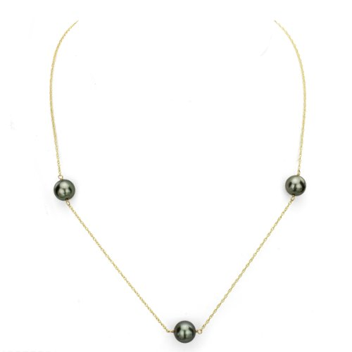 14k Yellow Gold 9-9.5mm Black Tahitian Cultured High Luster Pearl Necklace, (Tahitian Pearl Tin Cup)