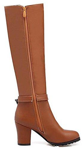 Idifu Womens Fashion Buckle High Chunky Heels Knielaarzen Lange Rijlaarsjes Met Volle Ritssluiting Bruin