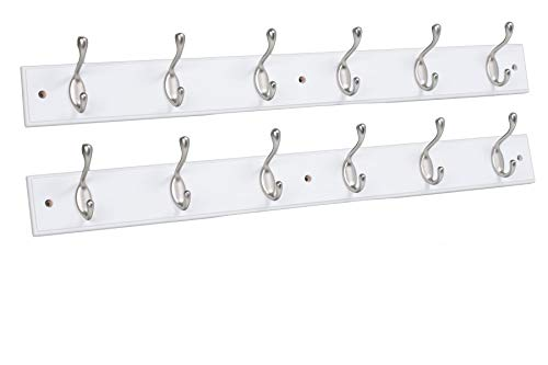 (BirdRock Home Hook Coat and Hat Rack | 2 Pack | 6 Hooks | 27 Inches | Wall Mount | Decorative Home Storage | Entryway Foyer Hallway Bathroom Bedroom Rail | Satin Nickel Hooks | White Pine Bathroom)