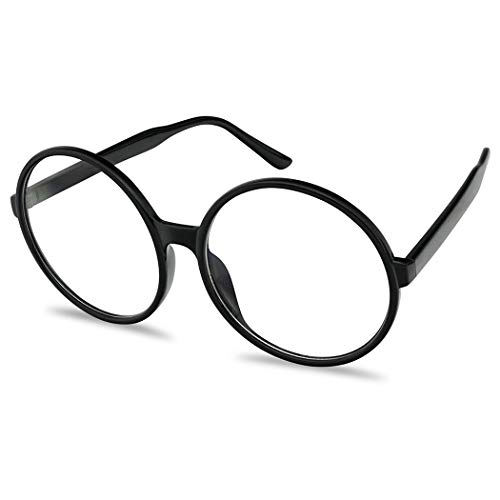 Vintage Inspired Round Super Oversized Clear Lens Fashion Circle Eye Glasses (Black, Clear) -