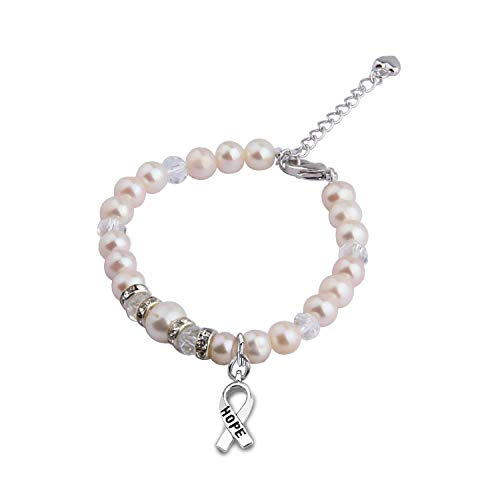- Zuo Bao Breast Cancer Awareness Jewelry Colorectal Cancer Patient Recovery Gifts Cancer Survivor Pearl Bracelet Inspirational Gifts for Women (White)