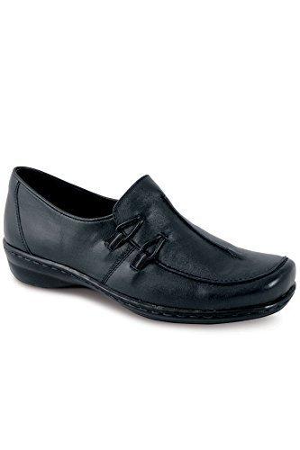 Bequem Schuhe Damen Hartzinn Leder Schwarz Slipper Absätze Marineblau Fantasia Damen Marineblau Boutique Niedrige pXHqwFx
