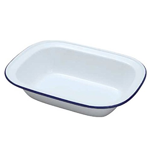 Falcon White Enamel Oblong Pie Dish 16cm-2PK