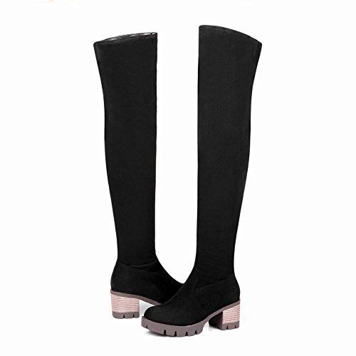 Knee Zip Heel Women's Snow Black Boots Block Shoes Mee qApwYaa