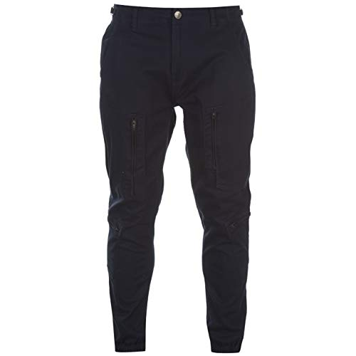 No Fear Mens Cuffed Boiler Pants Casual Bottoms Trousers Navy 38W R (No Fear Combat Pants)