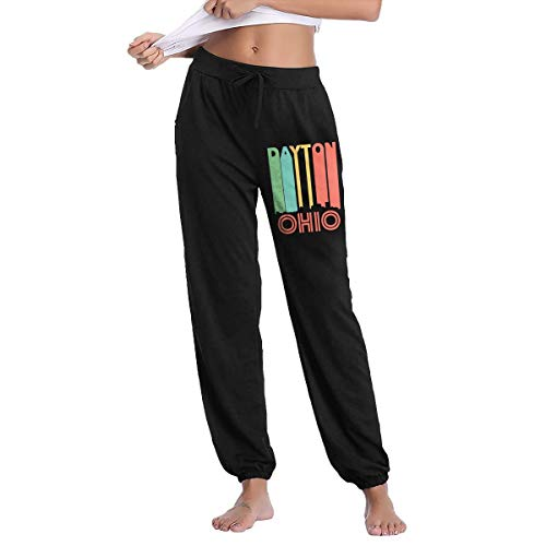 - Womens Vintage 1970's Style Dayton Ohio Skyline Sweatpants with Pockets Drawstring Pants Black
