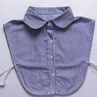 Blue Stones Women Striped Shirt False Detachable Collar Cotton Rounded/Fake Collar Pointed
