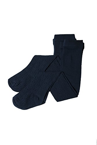 French Toast Big Girls' Uniform Cable Tights (2 Pack), Navy Cable, AGE: 3-6 Years 4-6X by French Toast (Image #1)