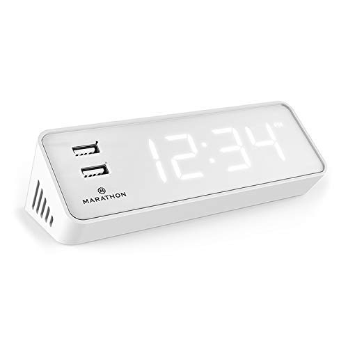 Marathon CL030055WH USB Clock Charger with 2 Front Charging Ports. Hotel Collection with Universal AC Adapter. Emergency Backup Batteries Included. Color – White Case with Light Blue LED Digits.