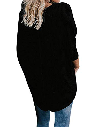 Miskely Women's Waffle Knit Tunic Tops Tie Knot Henley Tops Blouse Casual Loose Bat Wing Plain Shirts (Small, Black) by Miskely (Image #2)'