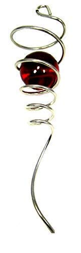 (WorldaWhirl Wind Spinner Stabilizer Gazing Ball Spiral Tail Cyclone Yard Twister (Silver Wire, Red Glass Orb))