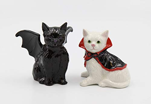 Fine Porcelain Hand Painted Dracula Vampire Cats Halloween Salt and Peppers Shakers, 3-1/2