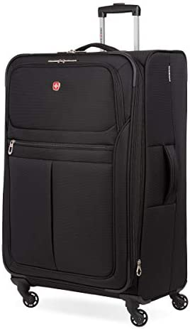 SwissGear 4010 Softside Luggage with Spinner Wheels, Black, Checked-Large 31-Inch