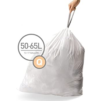 simplehuman Code Q Custom Fit Drawstring Trash Bags, 50-65 Liter / 13-17 Gallon, 12 Refill Packs (240 Count)