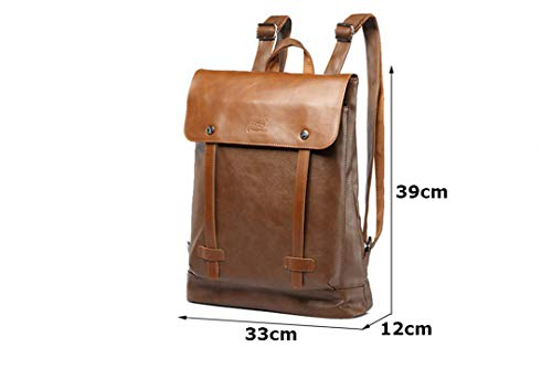for Travle Brown Backpack Backpack Leather Capacity Male Travel Daypacks Brown Laptop Men's Large Men Casual qwI6vW1P