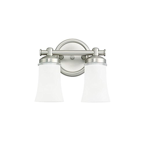 Newport Lighting (Sea Gull Lighting 44483-965 Newport 2-Light Vanity, Antique-Brushed Nickel with Clear Satin-Etched Glass)