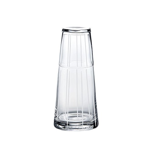 Trinkware Linear Bedside Night Carafe With Tumbler Glass - 2 Piece Water Set