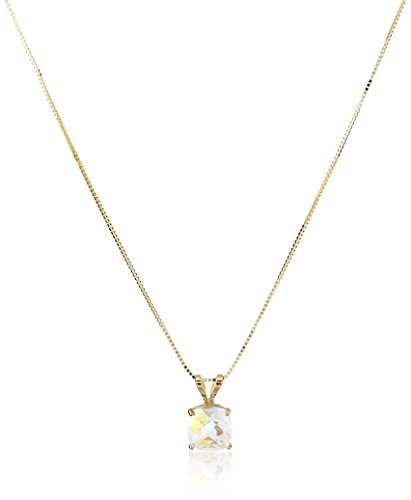 14k Gold Mercury Mist (14k Yellow Gold Mercury Mist Topaz Cushion Checkerboard Cut Pendant Necklace (6mm), 18