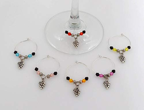 Grapes Wine Glass Charms - 6 Piece Cocktail Drink Charm Set in Black Velour Gift Pouch