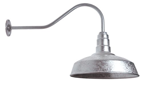 The ABBA Standard Barn Light Kit | Farmhouse Steel Vintage Shade and Gooseneck | 16 Inch Shade and 23 Inch Gooseneck (Galvanized)