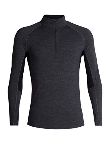 Icebreaker Merino Men's 200 Zone Long Sleeve Half Zip Jacket, Jet Heather/Black/Mineral, Medium