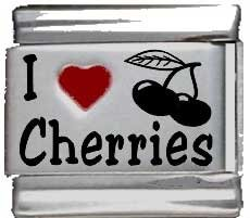 I Heart Cherries Red Heart Laser Italian Charm