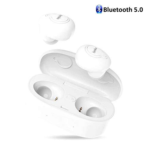 (Wireless Bluetooth Earbuds Headphones, iyesku Lastest True Wireless Earbuds Audifonos Bluetooth 5.0 IPX5 15H Playtime Auto Pairing Binaural Mic, Built in-Ear Mini Earphones Headset Earpieces, White)