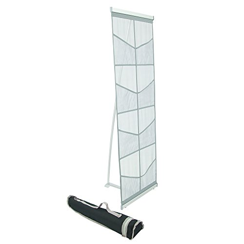 Mesh Floor Catalog Rack - Roll Out Brochure Holder 8 Pockets - Portable Literature Display