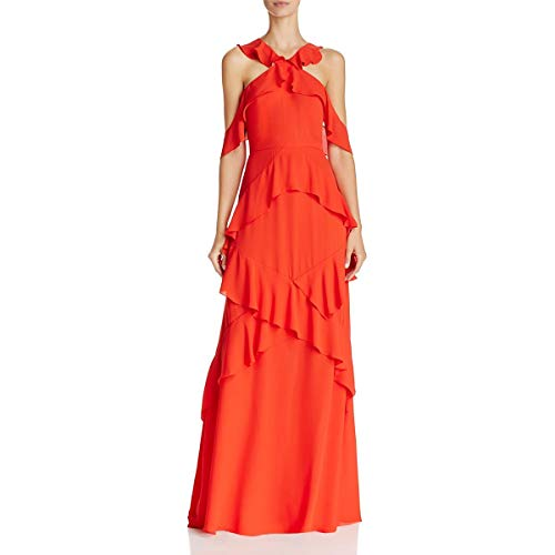 BCBG Max Azria Womens Audrianna Chiffon Off-The-Shoulder Evening Dress Red 6 ()