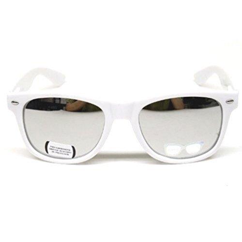 Style Revo 80's de Vintage Argent Miroir Wayfarer Retro Geek Blanc Tendance Lunettes Miroir Fashion Effet Soleil Verres 0En0S