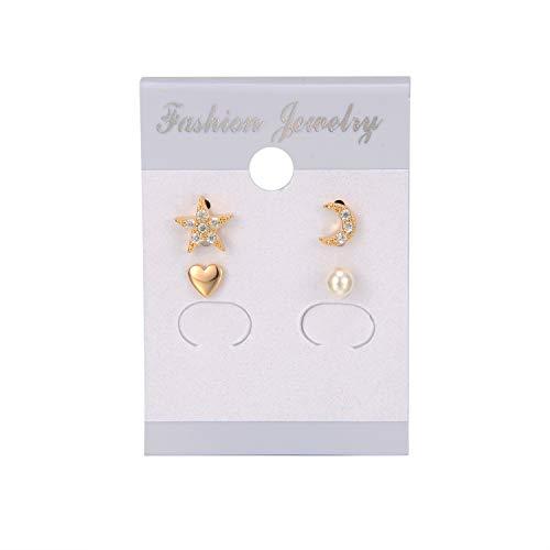 Pearl Moon Earrings - Flowetry 16K Gold Plated Heart Star Moon Pearls Stud Earrings Set£¬4 pc