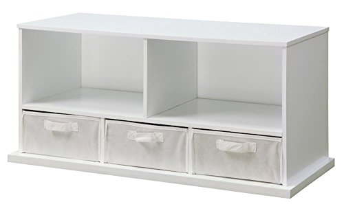 Badger Basket Shelf Storage Cubby with Three Baskets, White by Badger Basket
