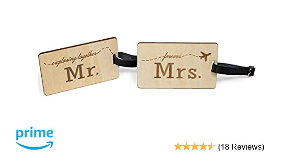 8bbe9ed44d78 Mr Mrs Wooden Luggage Tags Travel Cute Couples Gift Real Leather Belt - 2  Pack