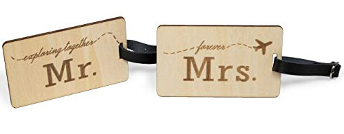 Mr Mrs Wooden Luggage Tags Travel Cute Couples Gift Real Leather Belt - 2 Pack]()