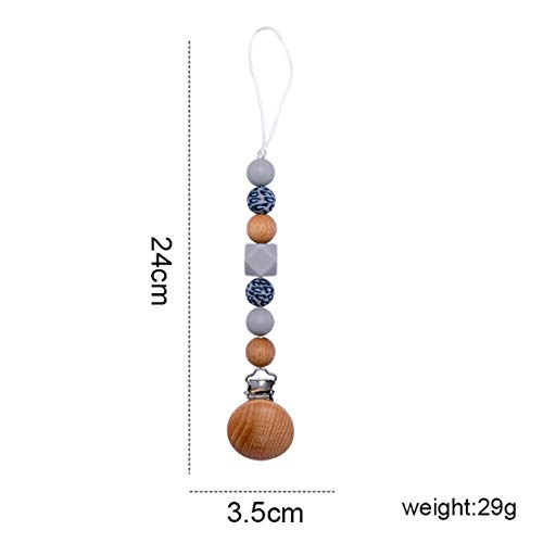 MMH Pacifier Clips Silicone Beads for Baby 6-18 Shower Gift Silicone Pacifier with Leopard Print Beads for Boys & Girls ( Gray )