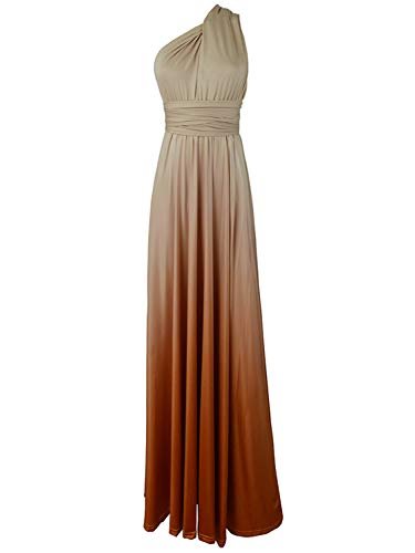 PERSUN Women's Convertible Multi Way Wrap Maxi Dress Long Semi Formal Party Long Dresses (X-Large, Gradient Khaki)