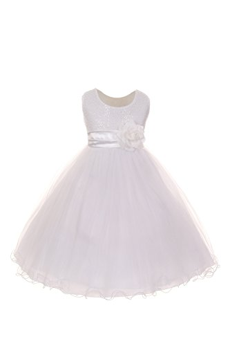 Shanil Inc. Big Girls White Sequin Mesh Flower Sash Special Occasion Dress 10 from Shanil Inc.