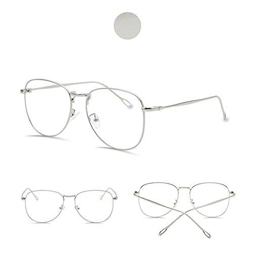 7b66eba354 Galleon - Clear Lens Oversize Glasses For Fashion Optical Classic Metal  Frame Eyeglasses (Silver)