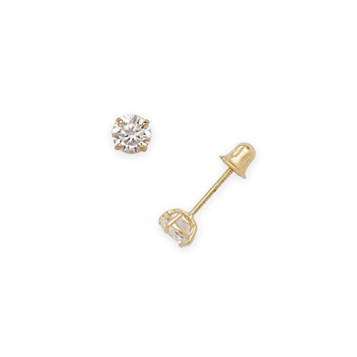 14k Yellow Gold Solitaire Round Cubic Zirconia CZ Stud Screw-back Earrings (2mm-7mm) (4mm-yellow-gold)
