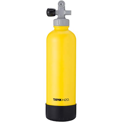 TankH2O Scuba Tank Vacuum Insulated Water Bottle: Great Gift and Accessory for Scuba Divers | Holds 700mL | Food-Grade Stainless Steel Bottle, BPA-Free Cap, Silicone Boot (Yellow)