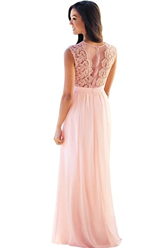 MisShow Women Sleeveless Lace Top Long Chiffon Bridesmaid Wedding Guest Dress US12 Pearl Pink