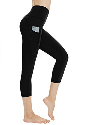 Dragon Fit High Waist Yoga Leggings with 3 Pockets,Tummy Control Workout Running 4 Way Stretch Yoga Pants (Medium, Capri29K-Black)
