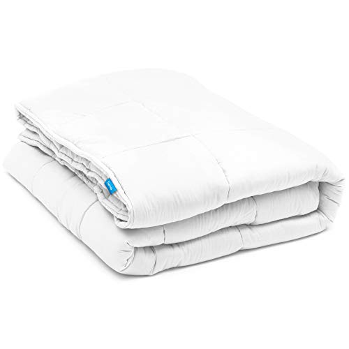 LUNA Weighted Blanket (15 lbs - 60x80) | 100% Organic Cooling Cotton & Hypoallergenic Glass Beads | Heavy Quilt for Calmer Days and Relaxing Nights | Kids or Adult | Designed in USA | White