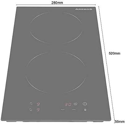 Arebos doble placa de inducción cocina 2 Fuegos: Amazon.es ...