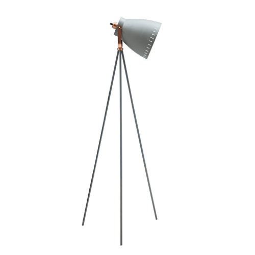 Light Society Grigsby Floor Lamp, Sand Textured Gray Shade and Body with Brushed Copper Finish, Mid Century Modern Vintage Style (Bronze Modern Desk Lamp)
