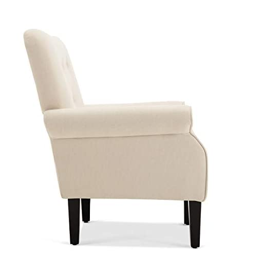 Farmhouse Accent Chairs BELLEZE Modern Accent Chair Armchair for Living Room or Bedroom with Wooden Legs, High Back Rest, Padded Armrest, and… farmhouse accent chairs