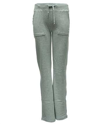 Ladies Grey Long Drawstring Pocket Sweat Pants